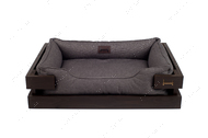Лежак с коричневым деревянным каркасом и серой мебельной рогожкой Dreamer Brown + Gray