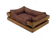 Лежак с деревянным каркасом натурального цвета и мебельной рогожкой коричневого цвета Dreamer Nature + Brown