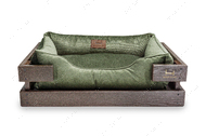 Лежак с деревянным каркасом коричневого цвета и велюровой лежанкой мятного цвета Dreamer Brown + Green Velur