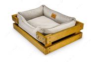 Лежак с деревянным каркасом натурального цвета и велюровой лежанкой ванильного цвета Dreamer Nature + Vanilla Ice Velur