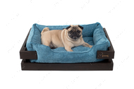 Лежак с деревянным каркасом коричневого цвета и вельветовой голубой лежанкой Dreamer Brown + Blue Velvet