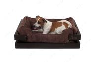 Лежак с деревянным каркасом коричневого цвета и вельветовой коричневой лежанкой Dreamer Brown + Brown Velvet