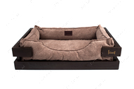 Лежак с деревянным каркасом коричневого цвета и вельветовой бежевой лежанкой Dreamer Brown + Cacao Velvet