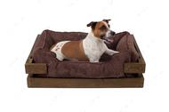 Лежак с деревянным каркасом натурального цвета и вельветовой коричневой лежанкой Dreamer Nature + Brown Velvet