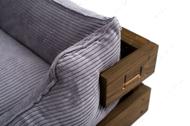 Лежак с деревянным каркасом натурального цвета и вельветовой серой лежанкой Dreamer Nature + Gray Velvet