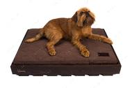 Ортопедический стеганный матрас Oliver из коричневой рогожки с усиленной поверхностью в деревянном каркасе коричневого цвета Brown + Brown