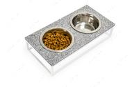 Миски на подставке камень перец с солью - белый металл Lunch Bar Stone Pepper Stone + White