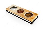 Три миски на подставке Lunch Bar Natural wood + Black