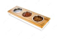 Три миски на подставке Lunch Bar Natural wood + White