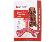 Игрушка жевательная тройная кость со вкусом говядины для собак Flamingo Rubber Flexo Saveo Triple Bone Beef