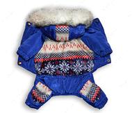 Комбинезон зимний для собак Орнамент Синий-электрик
