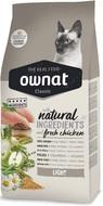 Сухой корм для взрослых котов с избыточным весом с курицей Ownat Classic Light