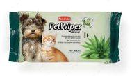 """Влажные салфетки с алоэ вера и ароматом зеленого чая для собак и кошек """"PET WIPES ALOE"""""""
