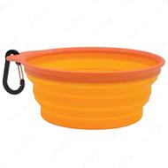Складная миска для собак и кошек, с карабином, силикон Collapsible Travel Bowl