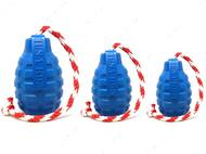 Игрушка для собак USA-K9 GRENADE DURABLE RUBBER CHEW TOY, TREAT DISPENSER, REWARD TOY, TUG TOY, AND RETRIEVING TOY - BLUE
