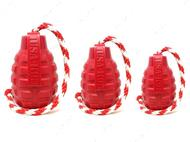 Игрушка для собак USA-K9 GRENADE DURABLE RUBBER CHEW TOY, TREAT DISPENSER, REWARD TOY, TUG TOY, AND RETRIEVING TOY - RED