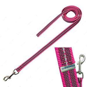 Прорезиненный поводок без ручки для собак, неоново-розовый