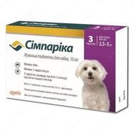 Симпарика - таблетки от блох и клещей для собак весом от 2,5 до 5 кг Simparica
