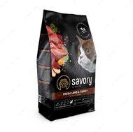 Сухой корм со свежим ягненком и индейкой для взрослых кошек с чувствительным пищеварением SavoryAdult Cat Sensitive Digestion Fresh Lamb & Turkey