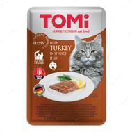 Консервы для кошек ТОМИ ИНДЕЙКА В ШПИНАТНОМ ЖЕЛЕ суперпремиум влажный корм пауч TOMi TURKEY in spinach jelly