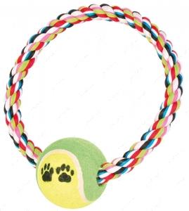 Игровой канат с теннисным мячом Trixie Rope Ring with Tennis Ball