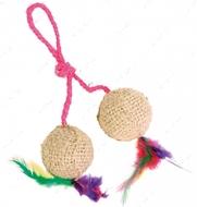 Игрушка для кота Мячики джутовые с мятой TRIXIE Cat Toy Cats 2 Balls on a Rope