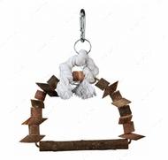 Игрушка-качеля из натурального дерева для мелких и средних птиц Arch Swing