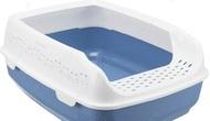 Туалет с бортиком для котов голубой Delio Litter Tray, with Rim