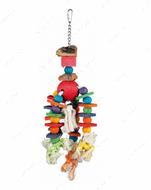 Игрушка для попугаев деревянная на канате Wooden Toy, Colourful