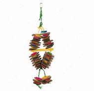 Игрушка для попугаев мультиколор с деревянными блоками Wooden Toy with Sisal Rope, Colourful
