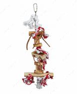 Игрушка для попугаев натуральное дерево с канатами Wooden Toy on Rope