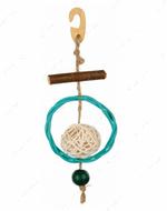 Игрушка для попугаев с кругом и колокольчиком Natural Toy with Sisal Rope