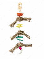 Игрушка для попугаев с кубиками из люфы Natural Toy on a Sisal Rope