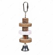 Игрушка для попугаев из натурального дерева с колокольчиком Natural Living Gnawing Wood with Lava Stone