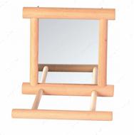 Зеркало в деревянной рамке для попугаев Mirror with Wooden Frame