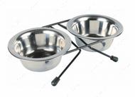Стойка с двумя мисками для собак Eat on Feet Stainless Steel Bowl Set