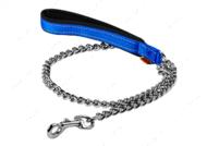 Поводок-цепь с прорезиненной ручкой для средних пород собак голубой Dog Extreme COLLAR