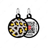 Адресник с QR кодом для кошек и собак круг леопард черный Smart Id WAUDOG
