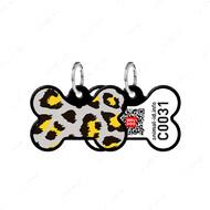 Адресник с QR кодом для кошек и собак кость леопард черный Smart Id WAUDOG