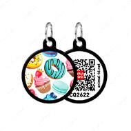 Адресник с QR кодом для кошек и собак круг пончики черный Smart Id WAUDOG