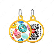 Адресник с QR кодом для кошек и собак круг пончики золотой Smart Id WAUDOG