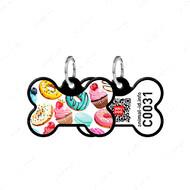 Адресник с QR кодом для кошек и собак кость пончики черный Smart Id WAUDOG