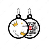 Адресник с QR кодом для кошек и собак круг корона черный Smart Id WAUDOG