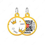 Адресник с QR кодом для кошек и собак круг корона золотой Smart Id WAUDOG