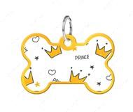 Адресник с QR кодом для кошек и собак кость корона золотой Smart Id WAUDOG