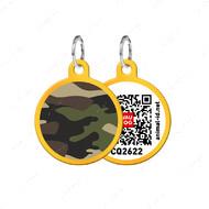 Адресник с QR кодом для кошек и собак круг камо золотой Smart Id WAUDOG