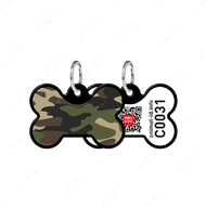 Адресник с QR кодом для кошек и собак кость камо черный Smart Id WAUDOG