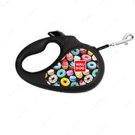 Поводок-рулетка для собак лента WAUDOG с рисунком Пончики