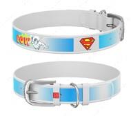 Ошейник для собак с рисунком Супермен2 белый Design WAUDOG