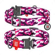 Ошейник для собак с рисунком Розовый камо пряжка-фастекс Nylon WAUDOG